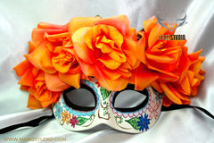 Day of the Dead El Dia de los Muertos Females half face flower mask C