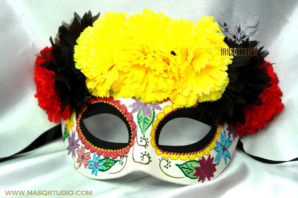 Day of the Dead El Dia de los Muertos Females half face flower mask D