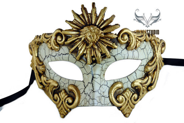 Men's Masquerade Mask for Men Roman Sun Gold Masquerade Ball Mask for Man