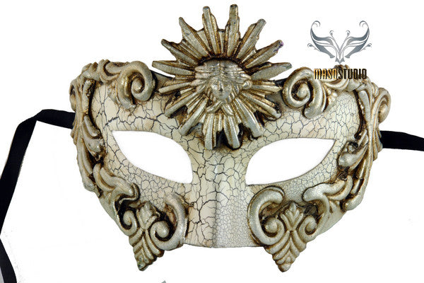 Men's Masquerade Mask for Men Roman Sun Silver Masquerade Ball Mask for Man