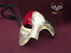 Men's phantom of the opera masquerade red silver mask