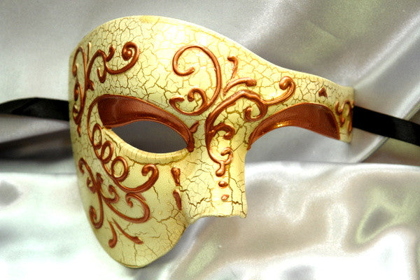 Men's phantom of the opera masquerade crack Copper mask
