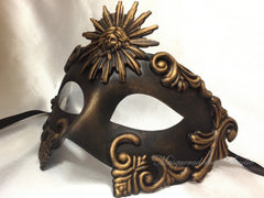 Men's Masquerade Mask Roman Sun Black Gold Masquerade Ball Mask
