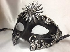 Men's Masquerade Mask Roman Sun Black Silver Masquerade Ball Mask