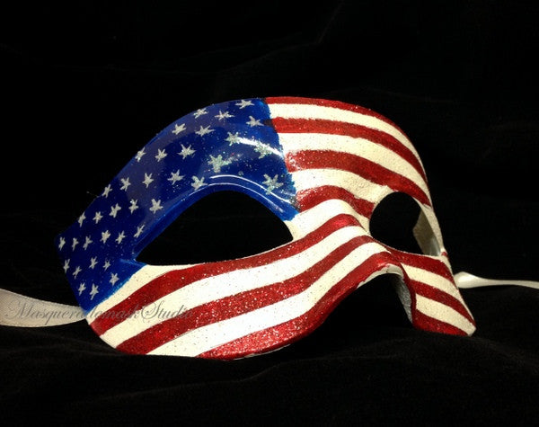 Men's Women's American July 4th flag Patriotic Masquerade Ball Mask USA