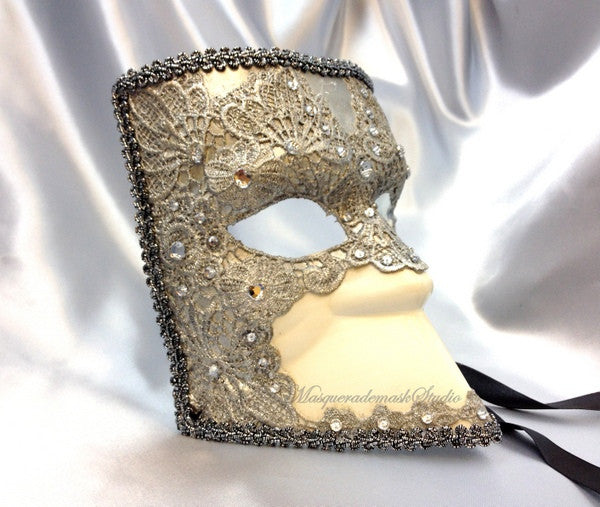 Men's Lace Bauta Masquerade Ball Mask