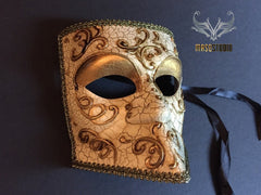 Venetian Bauta Masquerade Ball Gold Eye Mask