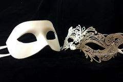 Luxury Venetian Couple Cat Masquerade Mask Set