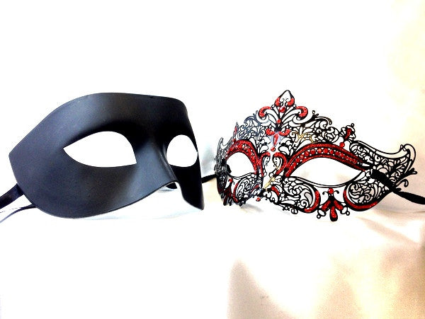 Luxury Venetian Couple Black Red Masquerade Mask Set - Stacy