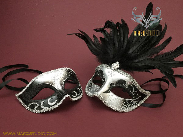 Venetian Couple Feather 50 shades of Grey Black Silver Masquerade Mask Set