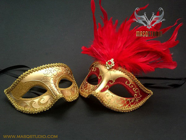 Venetian Couple Feather 50 shades of Grey Gold Red Masquerade Mask Set