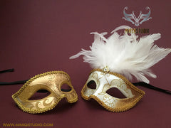 Venetian Couple Feather 50 shades of Grey Gold White Masquerade Mask Set