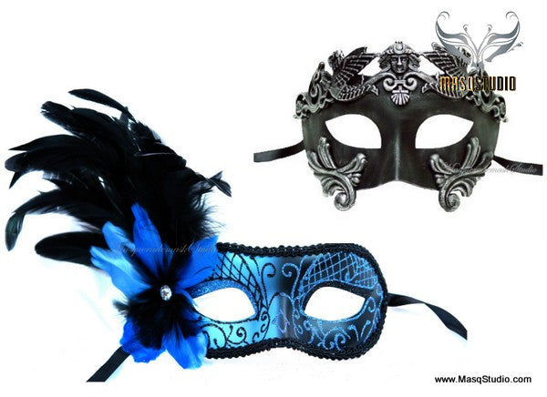 Venetian Couple side Blue Feather Masquerade Mask Set