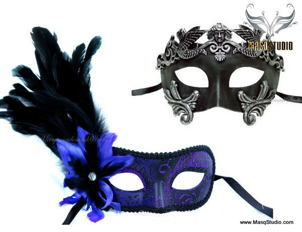 Venetian Couple side Purple Feather Masquerade Mask Set