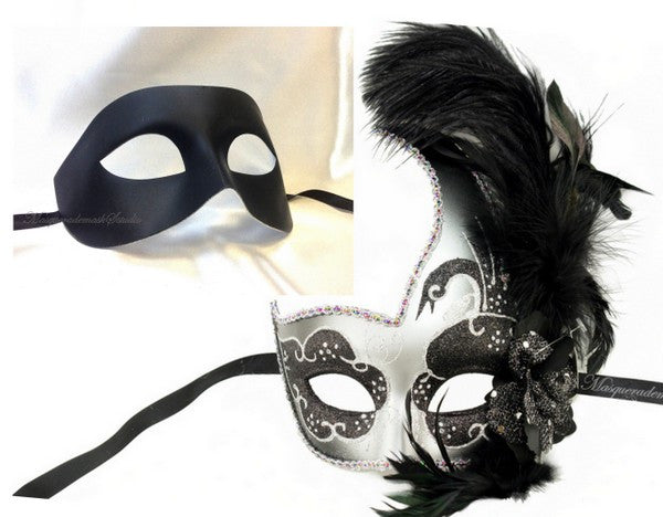 Venetian Couple side Feather Black Silver Swan Masquerade Mask Set