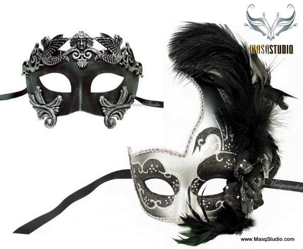 Couple side Feather Black Silver Roman Gladiator Masquerade Mask Set