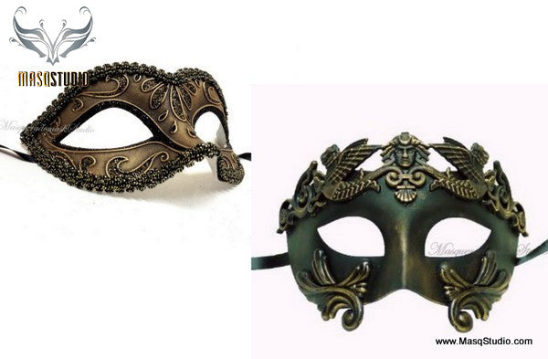 Elegant Roman Gladiator His and Her couple Masquerade mask set
