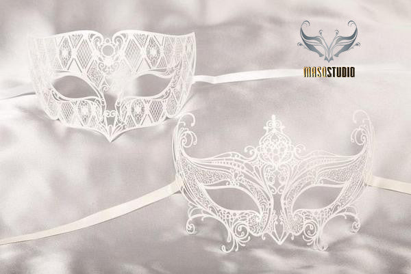 Luxury Laser cut Metal Couple Gossip Girl White Serena Masquerade Mask Set