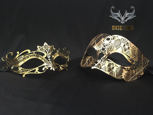 Filigree Laser cut Metal Couple Masquerade Mask Set Lotto Gold