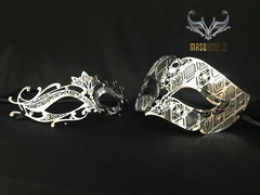 Filigree Laser cut Metal Couple Masquerade Mask Set Lotto Silver