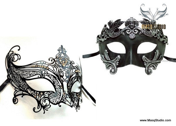 Venetian Couple Feathered Black Lace Masquerade Ball Mask Set