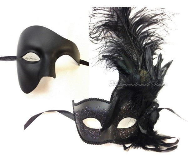 His & Her Couple Masquerade Mask Set -Black Phantom