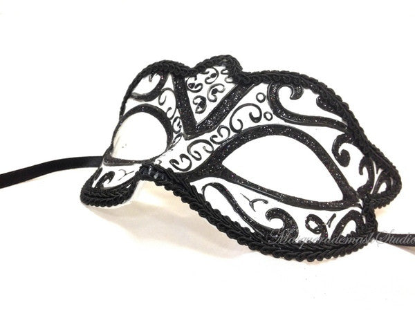 Venetian style Children Masquerade Eye Mask Black White
