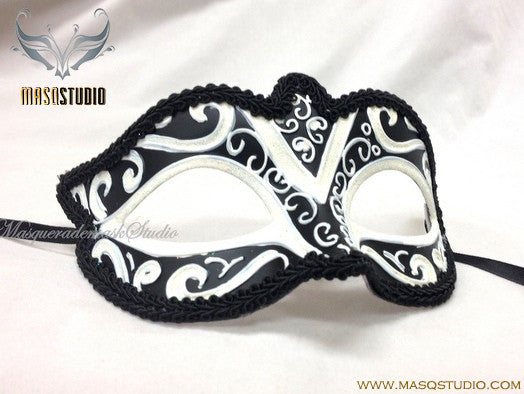 Venetian style Children Masquerade Eye Mask White Black