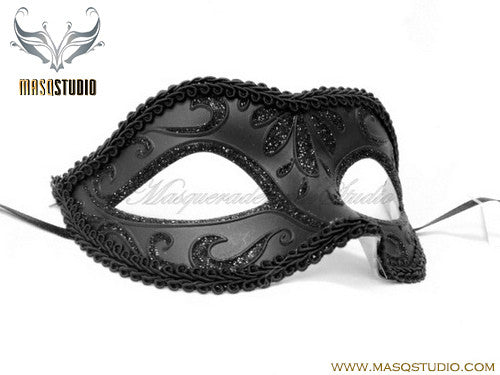Venetian style Children Masquerade Eye Mask Solid Black