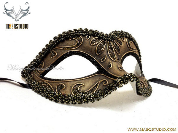 Venetian style Children Masquerade Eye Mask Antique Gold