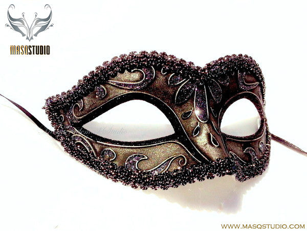 Venetian style Children Masquerade Eye Mask Antique Silver