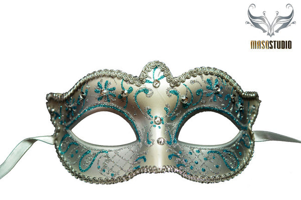 Venetian style Children Masquerade Eye Mask Black Baby Blue