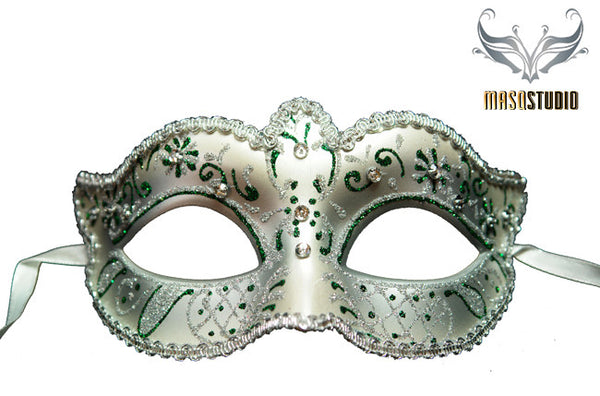 Venetian style Children Masquerade Eye Mask Green