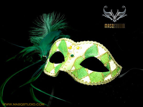 Venetian style side Feather Children Masquerade Ball Mask Green