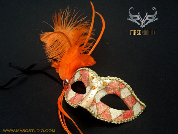 Venetian style side Feather Children Masquerade Ball Mask Orange