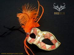 Venetian style side Feather Masquerade Ball Mask Orange