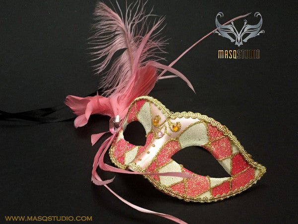 Venetian style side Feather Children Masquerade Ball Mask Pink