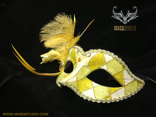 Venetian style side Feather Masquerade Ball Mask Yellow