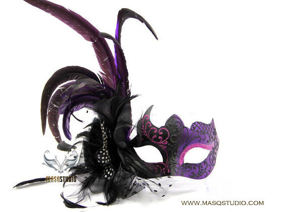 Venetian style side Feather Sexy Mysterious Veil Purple Feather