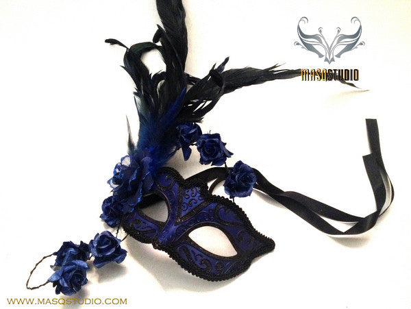 Venetian style side roses Feather Masquerade Ball Mask Blue