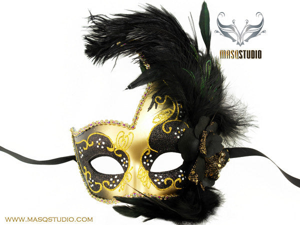 Venetian style side swan Feather Masquerade Ball Mask Black Gold