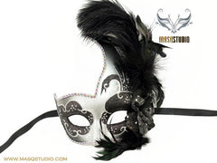 Venetian style side swan Feather Masquerade Ball Mask Black Silver