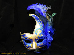 Venetian style side swan Feather Masquerade Ball Mask Blue Gold