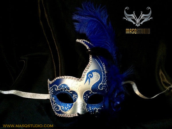 Venetian style side swan Feather Masquerade Ball Mask Blue Silver