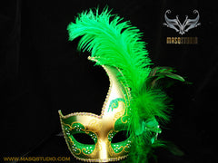 Venetian style side swan Feather Masquerade Ball Mask Green Gold