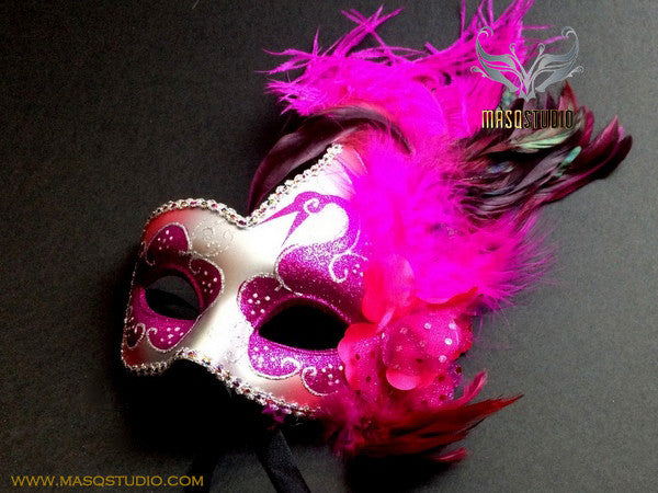 Venetian style side swan Feather Masquerade Ball Mask Fuchsia Silver