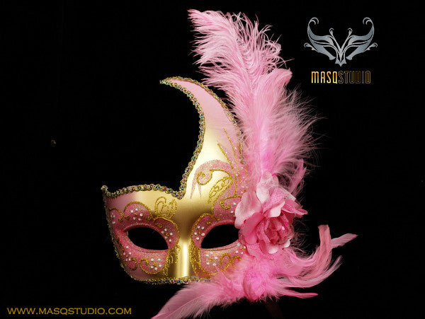 Venetian style side swan Feather Masquerade Ball Mask Pink Gold
