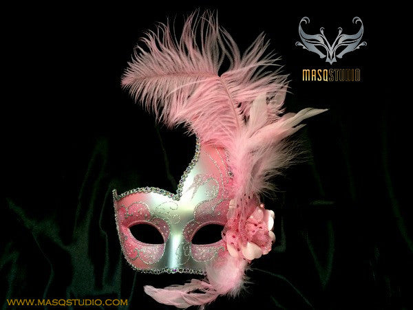 Venetian style side swan Feather Masquerade Ball Mask Purple Silver