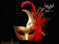 Venetian style side swan Feather Masquerade Ball Mask Red Gold