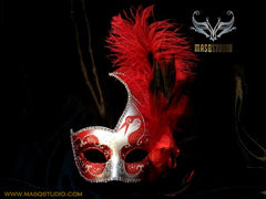 Venetian style side swan Feather Masquerade Ball Mask Red Silver